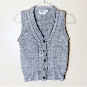 Vintage Fully Fashioned Grey Cable Knit Vest